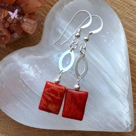 Sponge Coral & Sterling Silver dangle Earrings
